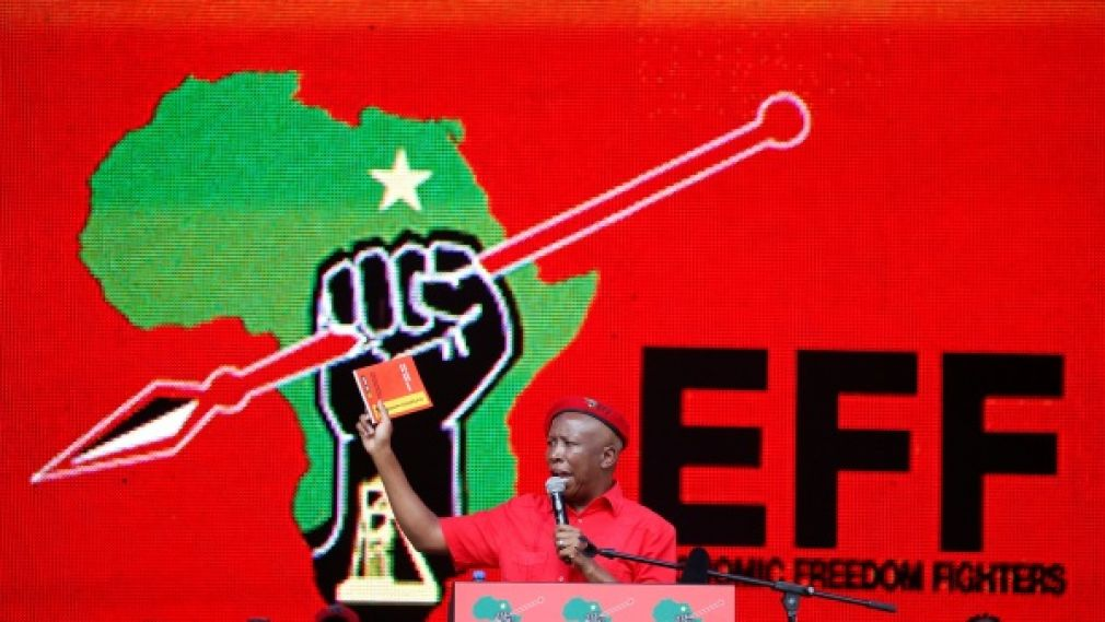President of South Africa's radical left-wing party, the Economic Freedom Fighters (EFF), Julius Malema, holds a copy of the party's election manifesto in Soshanguve, near Pretoria, South Africa, on February 2, 2019.