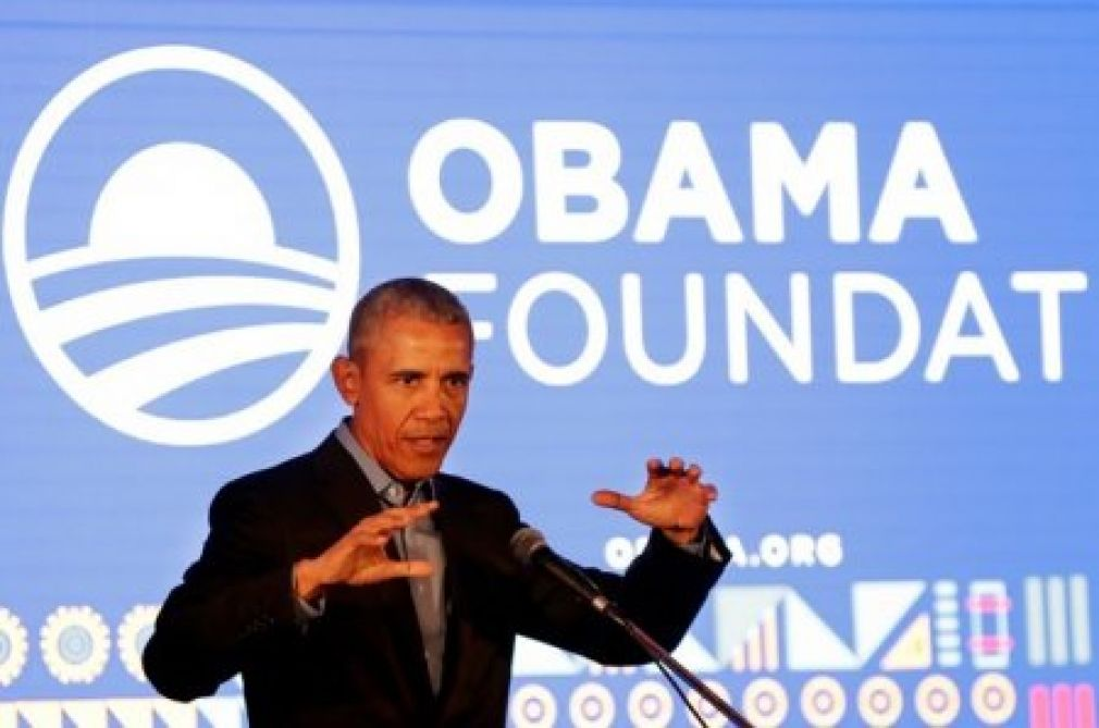 Former US President Barack Obama speaks during his town hall meeting for the Obama Foundation at the African Leadership Academy in Johannesburg