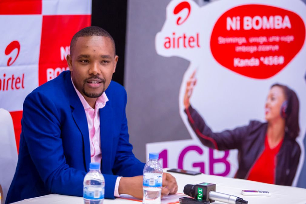 Airtel Commercial Director Moses Abindabizemu at the Bomba Packs launch.
