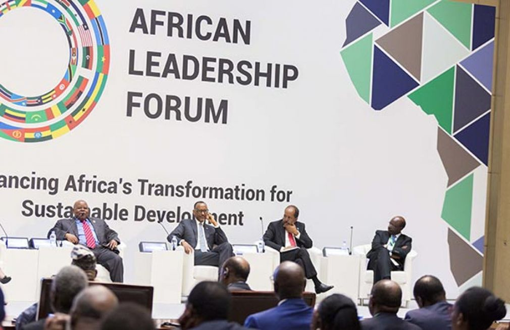 "Former President Benjamin Mkapa speaks during 5th Africa Leadership Forum organised by Uongozi Institute in Kigali Rwanda on August 2, 2018. This year's forum is under the theme, ""Financing Africa's Transformation for Sustainable Development"".  Other panelist from second left are, Rwanda's President Paul Kagame, former Somalia President Hassan Sheikh Mohamud and Secretary general United Nationals Conference on Trade and Development Dr Mukhisa Kituyi."