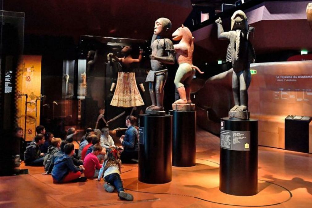 Big royal statues (above) of the Kingdom of Dahomey dating back to 1890-892 and King Ghezo's throne of Abomey are on display at Quai Branly Museum-Jacques Chirac in Paris, a museum featuring the indigenous art and cultures of Africa.